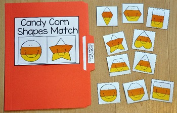 Halloween File Folder Game:  Candy Corn Shapes Match