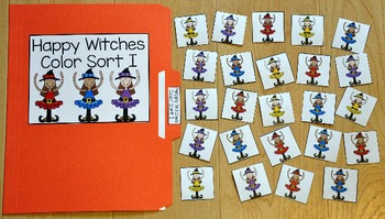Halloween File Folder Game:  Happy Witches Color Sort I