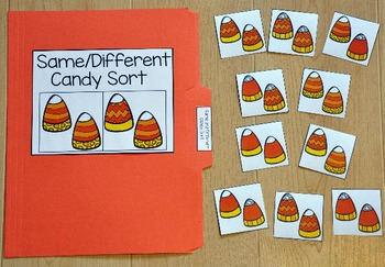 Halloween File Folder Game:  Same and Different Candy Corn Sort