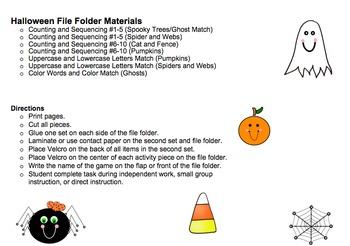Halloween File Folder Materials