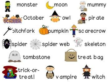 Halloween File Folder Word Wall