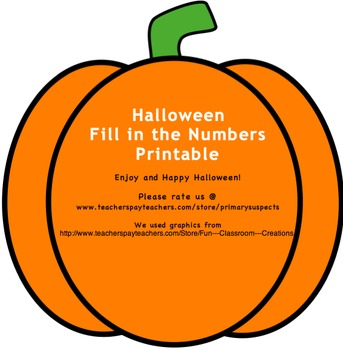 Halloween Fill in the Numbers