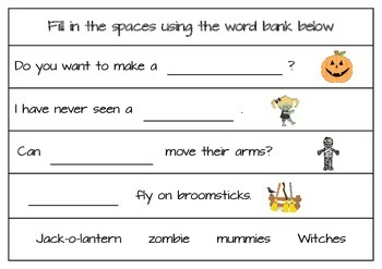 Halloween Fill in the Sentences Worksheets