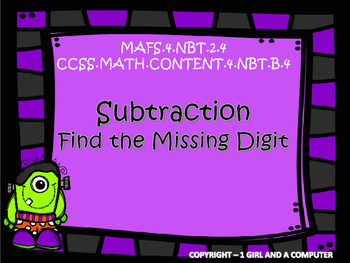 Halloween - Find the missing digit - Subtraction Task Cards