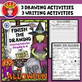 Halloween Finish The Drawing Activity and Writing Prompt