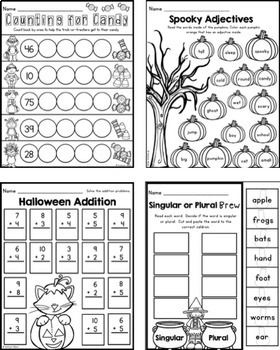 Halloween First Grade Printables - Math and Literacy
