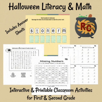 Image of Seasonal Products by R&C  Halloween Literacy & Math activities G1-2