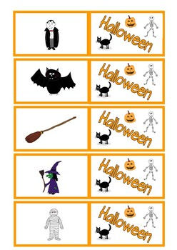 Halloween Flashcards, mini flashcards and Bingo Game