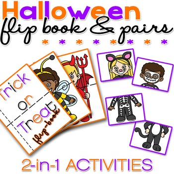 Halloween Flip Book and Pairs - 2 in 1 - NO PREP - PRINT & GO - Trick or Treat