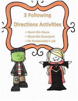 Halloween Following Directions Activities Bundle