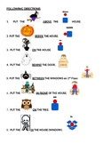 Halloween Following Directions Activity (Learn Prepositions - w/ visual support)