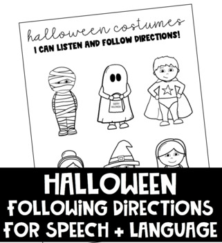 Halloween Following Directions Activity for Speech and Language (NO PREP)