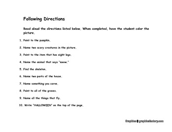 Halloween Following Directions Worksheet