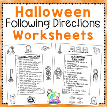 Halloween Following Directions Worksheets