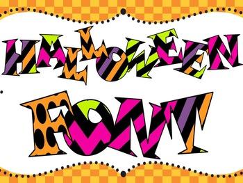 Halloween Font - Bright Font - Funky Font - Personal & Com