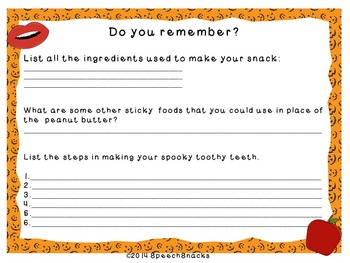 A Spooky, Toothy Halloween Treat--Speech & Language Activity