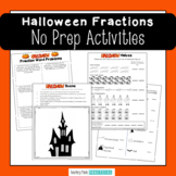 Halloween Fraction Worksheets - Word Problems and Coloring Activity
