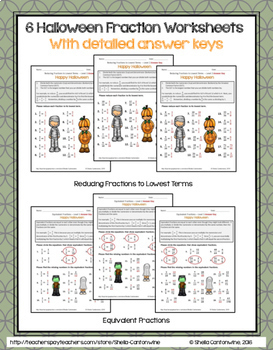 Halloween Fraction Bundle (Worksheets, Task Cards, and PowerPoint Review Game)