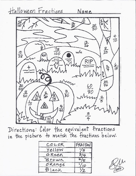 Halloween Fraction Coloring Sheet