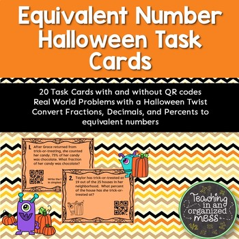 Halloween Fraction Decimal Percent Equivalent Number Task Cards with QR Codes
