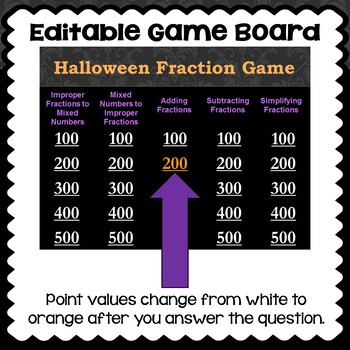 Halloween Fraction Game - Similar to Jeopardy