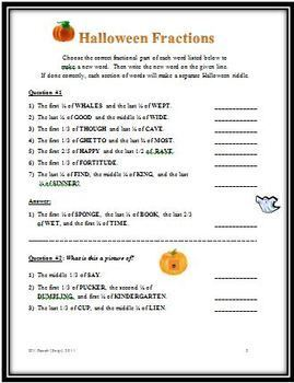 Math Halloween Fraction Riddles: Putting Fractions in Lowest Terms, Equivalency