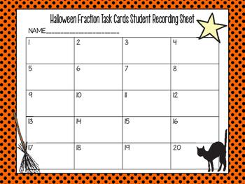 Halloween Fraction Task Cards