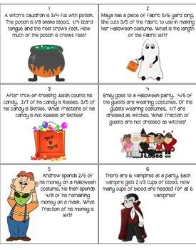 Halloween Fraction Word Problem Task Cards
