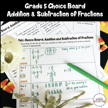 Halloween Fractions Activity Addition & Subtraction