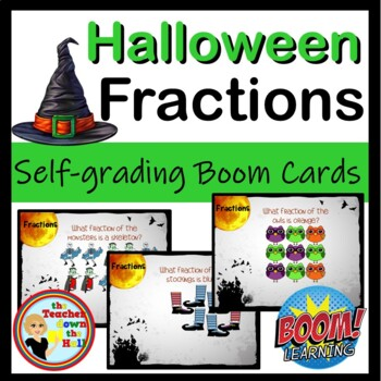 BOOM Halloween Fractions BOOM Cards - 24 Digital Self-Checking Task Cards!