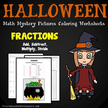Halloween Fractions Activities Math Coloring Sheets