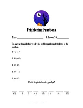 4th Grade Math- Halloween Fractions Packet- Aligned with CCSS