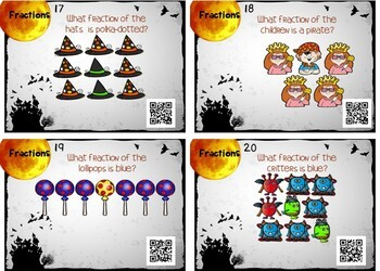 Halloween Fractions Task Cards w/ QR Codes!  Identifying Parts of a Group
