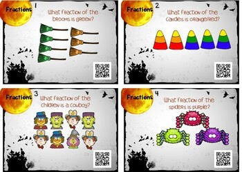 Halloween Fractions Task Cards w/ QR Codes! Parts of a Group