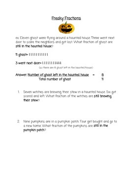 Halloween Fractions Word Problems
