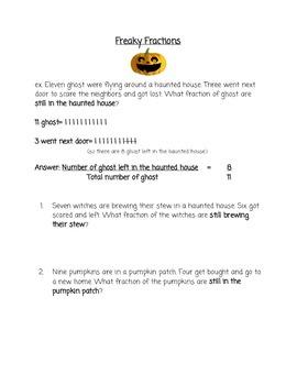 Halloween Fractions Word Problems