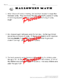 Halloween Fractions Word Problems With or Without Tape Diagrams + Key