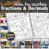 Halloween Fractions and Decimals Color by Number Math Worksheets