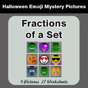 Fractions of a Set - Color-By-Number Halloween Math Mystery Pictures