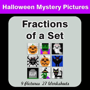 Halloween Math: Fractions of a Set - Color-By-Number Math Mystery Pictures