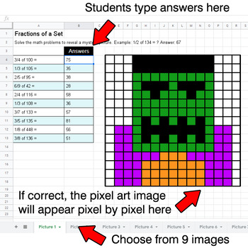 Halloween - Fractions of a Set - Google Sheets Pixel Art