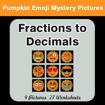 Halloween: Fractions to Decimals - Color-By-Number Math Mystery Pictures