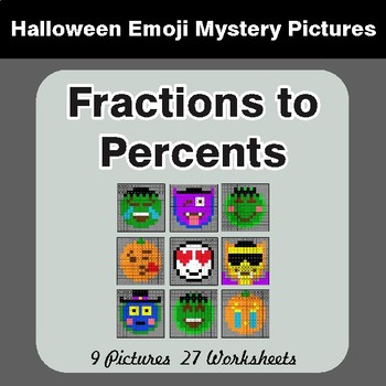 Halloween: Fractions to Percents - Color-By-Number Math Mystery Pictures