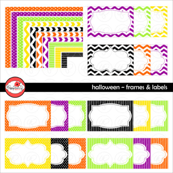 Halloween Frames and Labels Digital Borders Clipart by Pop