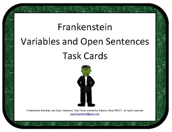 Halloween Frankenstein Open Sentences and Variables Task Cards