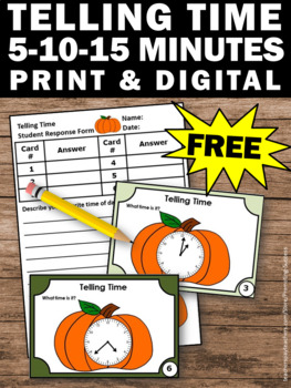 FREE Pumpkins Telling Time Task Cards Halloween Thanksgiving Math Activities