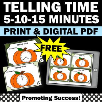 FREE Telling Time Task Cards, Halloween Math 2nd Grade, Pumpkin Theme