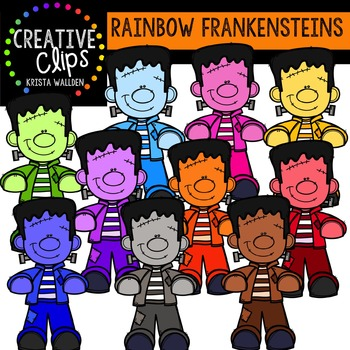 Rainbow Frankensteins {Creative Clips Digital Clipart}