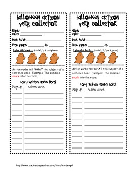 Halloween Freebie Action Verbs And Adverbs Fun Printables By Jen Bengel