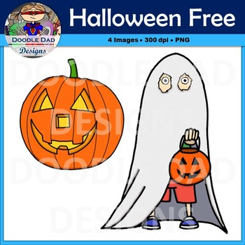 Halloween Free Clip Art (Ghost Boy and Pumpkin, Jack-O-Lantern)